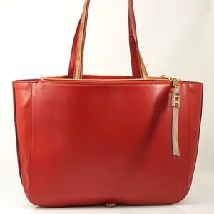 Auth Chloe Sam Red Brown Leather Tote #2249C10
